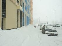 Via coperta di neve caduta Immagine Stock