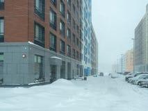 Via coperta di neve caduta Immagine Stock Libera da Diritti