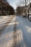 Via coperta in neve Immagine Stock