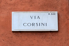 Via Corsini, street plate on a wall in Rome Royalty Free Stock Images