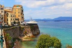 Via costiera Grecia della città di Corfù Immagine Stock