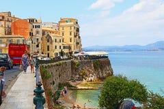 Via costiera Grecia della città di Corfù Immagine Stock Libera da Diritti