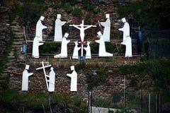 Via Crucis in Manarola, l'Italia Fotografia Stock