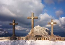 Via Crucis in Urkiola mountains at the winter with stone crosses. Via Crucis in Urkiola mountains at the winter with some stone crosses stock images