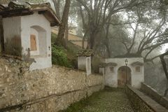 Via Crucis walk path at the Santuary of Fonte Colombo near Rieti Royalty Free Stock Photos
