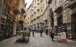 Via d'Alba ,famous street in old town of Naples,Italy Stock Photos