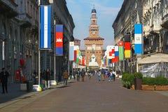 Via Dante & the Castle, Milan Royalty Free Stock Images