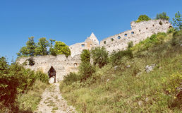 Via de acesso ao castelo de Topolcany, república eslovaca da ruína Fotografia de Stock Royalty Free