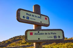 Via de la Plata way in Spain track signs Almaden Stock Image