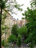 Via degli alberi verdi Praga fotografia stock libera da diritti