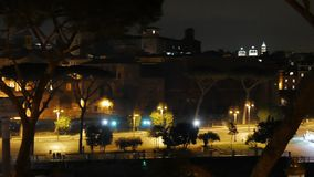 Via dei Fori Imperiali. Night. Rome, Italy stock video footage