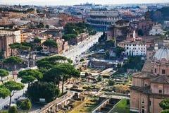 Via dei Fori Imperiali to Coliseum, Rome Royalty Free Stock Photography