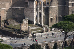 Via dei Fori Imperiali (Via dellImpero) Forum, aerial view stock image