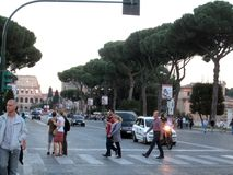Via dei Fori Imperiali `Way of the Imperial Forums` is an avenue in the center of Rome royalty free stock photography