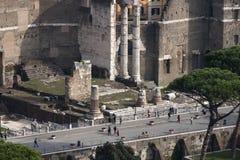 Via deiFori Imperiali (via dellImpero) forum flyg- sikt Fotografering för Bildbyråer