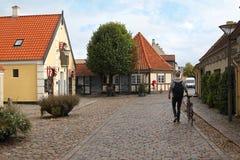 Via del ciottolo a Odense, Danimarca fotografia stock