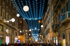 Via Del Corso In Rome During Christmas Time, Italy. Stock Photography
