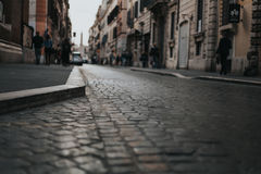 Via del Corsso pavement detail. Rome, Italy. Royalty Free Stock Photo