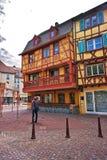 Via del DES Tetes della ruta a Colmar nell'Alsazia della Francia Fotografia Stock Libera da Diritti