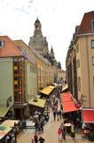 Via del negozio di ricordo in vecchia città Dresda, Germania Fotografia Stock