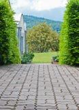 Via del pavimento del mattone con il cespuglio tagliato. Fotografie Stock Libere da Diritti