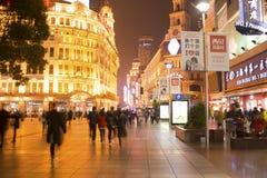 Via del pedone della strada del ` s Shanghai Nanchino della Cina Fotografia Stock