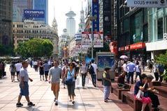 Via del pedone della strada della Cina Schang-Hai nanjing Fotografie Stock