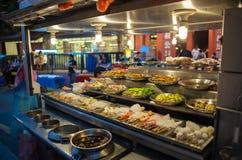 Via dell'alimento in Asia alla notte Fotografie Stock Libere da Diritti