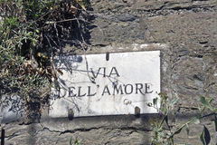 Via dell'Amoreplaque Stock Foto's