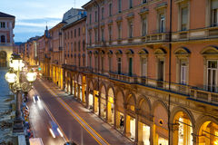 Via dell Indipendenza in Bologna, Italy. In autumn evening Royalty Free Stock Photography