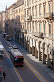 Via dell Indipendenza in Bologna, Italy in morning Royalty Free Stock Images