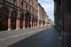 Via dell'Indipendenza in Bologna, Italy. A typical street in the medieval town of Bologna, Italy Stock Image