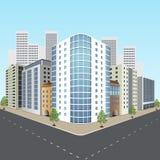 Via della città con gli edifici per uffici Immagini Stock Libere da Diritti