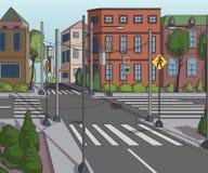 Via della città con le costruzioni, il semaforo, l'attraversamento ed il segnale stradale Fondo del ityscape del ¡ di Ð