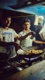 Via della città di Bangalore, cucinante riso immagine stock libera da diritti