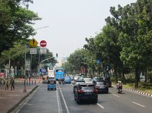 Via della città di Jakarta immagini stock
