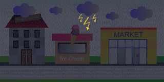 Via della città in un giorno piovoso con la tempesta Fotografia Stock Libera da Diritti