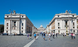 Via della Conciliazione in Rome Italy. Urban scene with Via della Conciliazione and Saint Peter Cathedral Royalty Free Stock Images