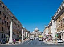 Via della Conciliazione in Rome Italy. Urban scene with Via della Conciliazione and Saint Peter Cathedral Stock Image