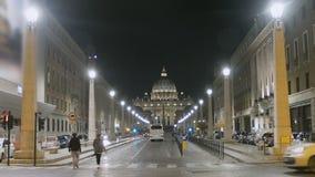 Via della Conciliazione street and Saint Peter's Basilica in Vatican, cityscape. Stock footage stock video