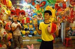 Via della lanterna del Vietnam, mercato dell'aria aperta Immagini Stock Libere da Diritti