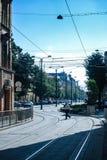 Via della linea tranviaria di Timisoara Fotografia Stock Libera da Diritti