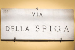 Via della Spiga ensign in Milan Royalty Free Stock Photo