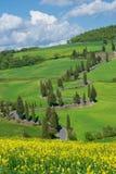 Via della Toscana, d'Orcia di Val fotografie stock