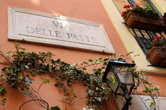 Via Delle Paste - street name sign in Rome, Italy Royalty Free Stock Images