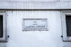 Via delle Quattro is Fontane een straat in Rome Royalty-vrije Stock Foto's