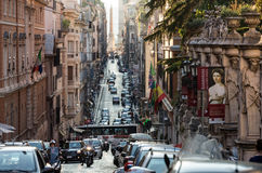 Via delle Quattro Fontane in the late afternoon.  Rome Royalty Free Stock Photo