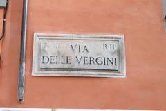 Via delle Vergini, street sign in Rome Stock Images