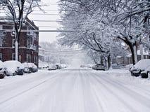 Via dello Snowy Fotografia Stock Libera da Diritti