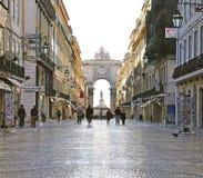 Via den Agusta gatan Lissabon, Portugal Arkivfoto